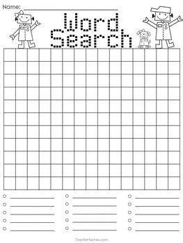 Word Search Templates * Works with ANY List * Spelling * Vocabulary * Phonics