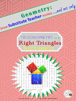 Word Search Trigonometry Right Triangles Substitute Teacher Activity HS Geometry