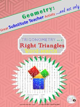 Geometry Word Search: TRIGONOMETRY, RIGHT ⊿ /Substitute Teacher/ Emergency Plan