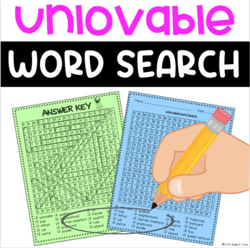 Word Search- Unlovable by Dan Yaccarino- Fun Bell Ringer/Early Finisher Activity