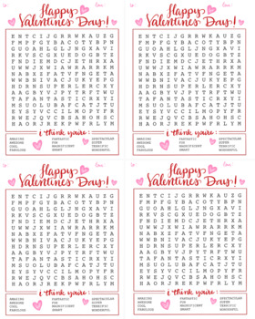 Word Search Valentine cards
