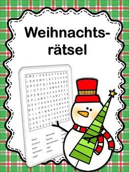 German Christmas Word Search  Weihnachten