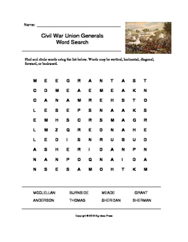 Civil War Union Generals Word Search (Grades 4-5)