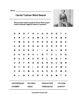 harriet tubman word search grade 5 by big ideas press tpt. Black Bedroom Furniture Sets. Home Design Ideas