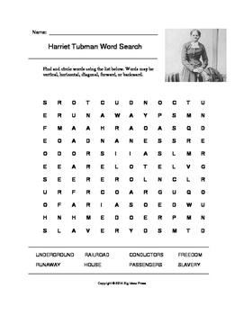 Harriet Tubman Word Search (Grade 5) by Big Ideas Press | Teachers ...