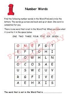 Word Search Worksheets - Grades 1 - 2 -  AU NZ UK English Version
