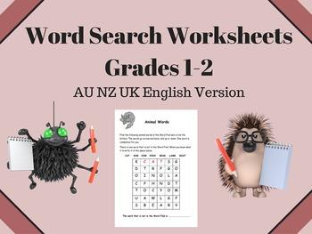 Word Search Worksheets - Grades 1 - 2 -  AU NZ UK English Version