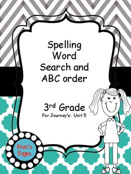 Journey's 3rd grade Unit 5 Word Search and ABC Order