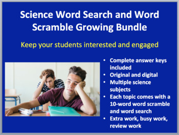 Word Search and Scramble Student Activity Bundle - 59 Activities -Growing Bundle