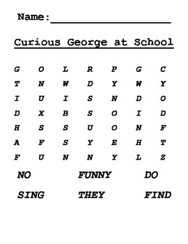 Word Search for Curious George at School Journeys Grade One Lesson 3
