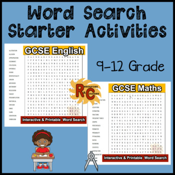 Word Search for GCSE English and GCSE Maths (various formats)