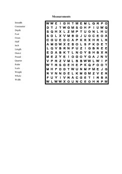 Measurements Vocabulary Word Search