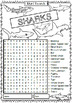 Word Search for Sharks and Shark Week