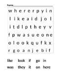 Word Search for Sight Words