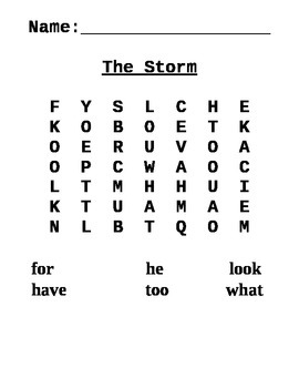 Word Search for The Storm Journeys Lesson 2 Grade One