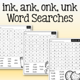 Glued Sounds Word Search: ink, ank, onk, unk