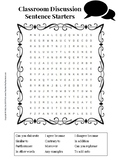 Classroom Discussion Sentence Starters Word Search Puzzle