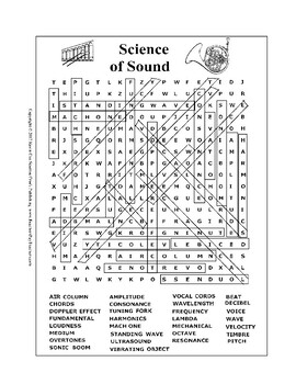 Science of Sound Wordsearch or Word Search