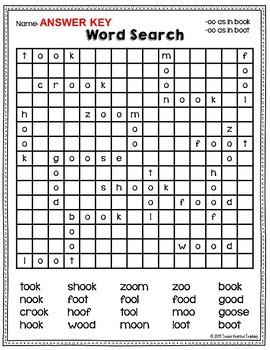 Word Search: -oo spelling pattern