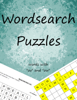 """Word Search: """"ou"""" and """"ow"""" words"""
