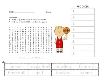 Sports Word Search and ABC Order