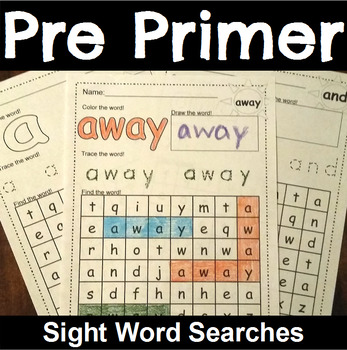 Word Search with PrePrimer Sight Words