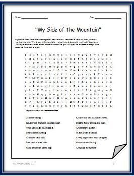 "Two Word Searches for ""My Side of the Mountain"" - Features Survival Materials"