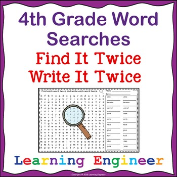4th Grade Morning Work Word Searches