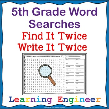 5th Grade Morning Work - 5th Grade Spelling: Word Searches