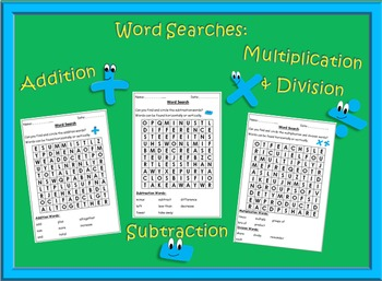 Math Word Searches - Addition, Subtraction, Multiplication & Division.