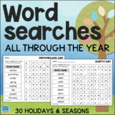 Word Searches All Year - Holiday and Seasonal Vocabulary