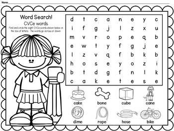Word Searches: CVC, CVCe, Blends, Digraphs & More (Kindergarten & 1st Grade)