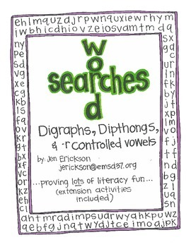 Word Searches:  Digraphs, Dipthongs, and -r Controlled Vowels