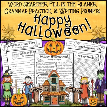 Word Searches, Fill-in-the-Blanks, Grammar, & Writing Prompts * Happy Halloween