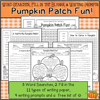 Word Searches, Fill-in-the-Blanks, Grammar, & Writing Prompts *Pumpkin Patch Fun