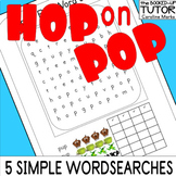 HOP ON POP 5 fun Kinder WORD SEARCH PUZZLES Dr Seuss EMERGENT READER