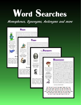 Word Searches:  Homophones, Synonyms, Antonyms, and more