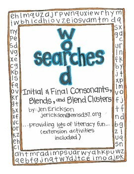 Word Searches:  Initial and Final Sounds, Consonant Blends, and Blend Clusters