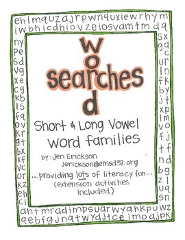 Word Searches:  Long and Short Vowel Word Families