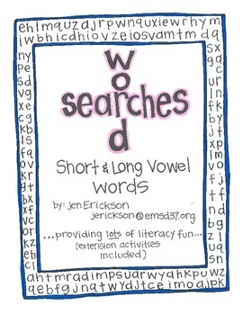 Word Searches:  Short and Long Vowels