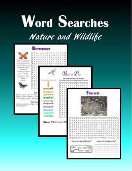Word Searches:  Nature and Wildlife