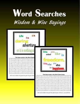 Word Searches:  Wisdom and Wise Sayings