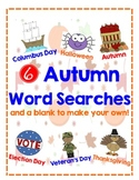 6 Different Fall Themed Word Searches