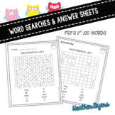 Word Searches using Fry's first 100 words Owl theme
