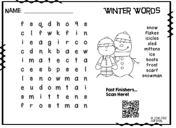Word Searches with QR codes for winter, Martin Luther King Jr, and Antarctica