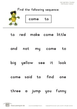 Word Sequence Tracking (Pre-K)