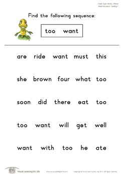 Word Sequence Tracking (Kindergarten)