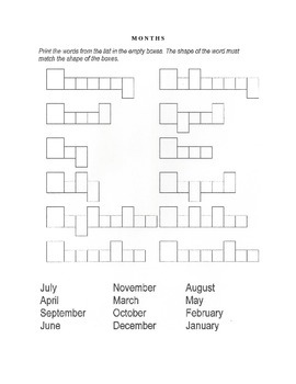 Word Shape Exercises with Month Vocabulary