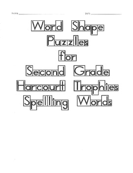 Word Shape Puzzles for Harcourt Trophies Spelling Words Second Grade