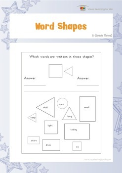 Word Shapes (3rd Grade)